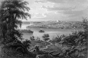 Icarians - The Mississippi River town of Nauvoo, Illinois as it appeared circa 1855, during the time of its occupation by Icarian colonists.