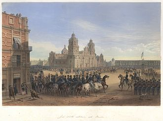 Aztec Club of 1847 - The original Aztec Club occupied the yellow two-story structure left of the Metropolitan Cathedral shown in this contemporary Carl Nebel painting of General Scott entering Mexico City.