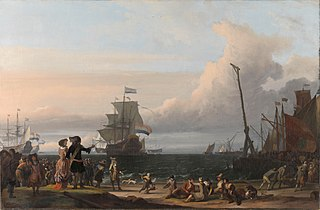 Dutch ships in the roads of Texel; in the middle the 'Gouden Leeuw,' the flagship of Cornelis Tromp