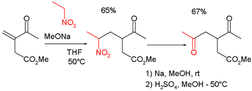 Nef reaction in combination with Michael addition