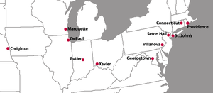 Big East Conference - Image: New Big East Locations