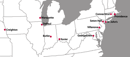 A map of the eastern United States with red location markers for ten cities.