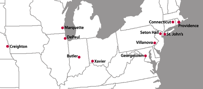 Locations of the current Big East Conference member institutions New Big East Locations.png