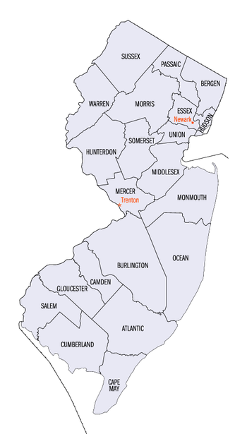 English: New Jersey county map