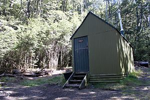 Thomas Cass (surveyor) - Cass Saddle Hut on the Cass-Lagoon tramping route, which follows the Cass River
