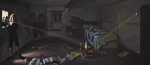 Experimentum crucis - Isaac Newton performing his crucial prism experiment – the 'experimentum crucis' – in his Woolsthorpe Manor bedroom. Acrylic painting by Sascha Grusche (17 Dec 2015)