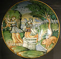 Ngv, maiolica di urbino, piatto con tisbe e il leone, 1550 circa.JPG