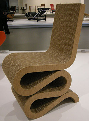 Cardboard furniture - Wiggle side chair by Frank Gehry for NGV Design, 1972