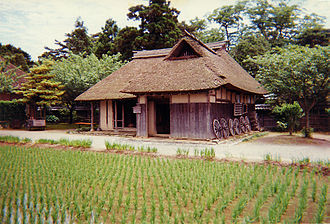 Niigata Prefecture - Reconstruction of a 19th-century peasant farmer's house and rice paddy at the Northern Culture Museum, Niigata