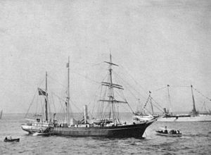 United Kingdom Hydrographic Office - The expedition's ship Nimrod departing for the South Pole