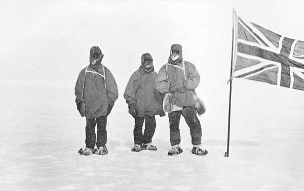 Jameson Adams, Frank Wild and Eric Marshall (from left to right) plant the Union Jack at their southernmost position, 88deg 23', on 9 January 1909. The photograph was taken by expedition leader Ernest Shackleton. Nimrod South 9 Jan 09.jpg