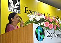 Nirmala Sitharaman addressing the gathering, at the Export Excellence Awards 2014-15 and 2015-16 Ceremony, organised by the MEPZ Special Economic Zone, at Chennai.jpg
