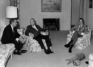 "Charles Rebozo - Charles ""Bebe"" Rebozo (left) meeting with Richard Nixon and J. Edgar Hoover. The three men relax before dinner, Key Biscayne, Florida, December 1971."