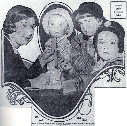 Nixon (second from right) makes his newspaper debut in 1916, contributing five cents to a fund for war orphans. Donald is to the left of his brother. Nixon child.jpeg