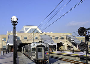 Secaucus Junction - A train arriving at the upper platform level of Secaucus Junction station.