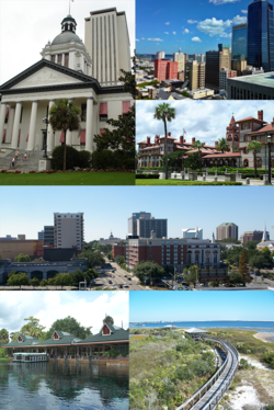 Top left to right: Florida State Capitol in Tallahassee, Downtown Jacksonville, Flagler College, Tallahassee skyline Bottom left to right: Silver Springs Nature Theme Park, and Big Lagoon State Park