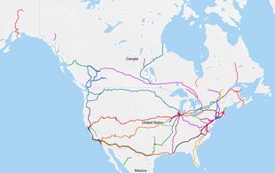 Treni passeggeri nel Nord America (mappa interattiva)
