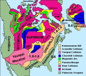 Midcontinent Rift System - Geological map of North America showing (in white) the Midcontinent Rift, here labeled Keweenawan Rift. Lake Superior occupies the apex of the rift.