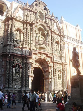 Churrigueresque - Basilica of Nuestra Señora de la Merced in Lima built in 1614 by Father Pedro Galeano and foreman Andres Espinoza