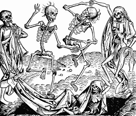 Inspired by the Black Death, The Dance of Death, or Danse Macabre, an allegory on the universality of death, was a common painting motif in the late medieval period. Nuremberg chronicles - Dance of Death (CCLXIIIIv).jpg
