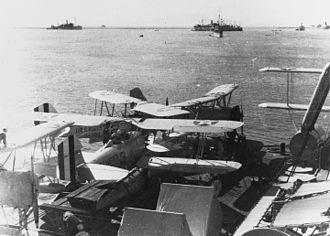 "U.S. Naval Base Subic Bay - 1933: Vought O3U-1 ""Corsair"" observation planes aboard the Augusta during exercises in Subic Bay"