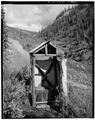OUTHOUSE, FRONT, VIEW OF THE SOUTHEAST ENTRANCE - Vincent Knorr Cabin, Bettles, Yukon-Koyukuk Census Area, AK HABS AK,23-BET.V,2-6.tif