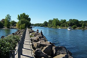 Carlton, New York - The Oak Orchard River at Point Breeze.
