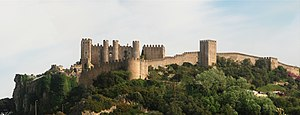 Óbidos, Portugal - The castle and wall of Óbidos, view from the west.