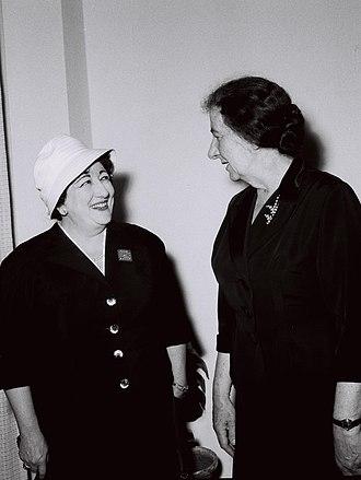 Brazil–Israel relations - Ambassador of Brazil to Israel, Odette de Carvalho e Souza, meeting foreign minister Golda Meir in 1959.