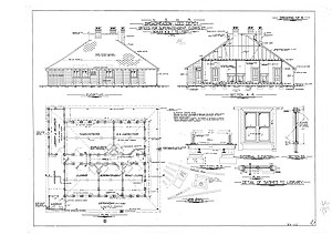 Broadmeadow Locomotive Depot - NSWR drawing of the concrete drop panel construction Chargeman's office at Broadmeadow Loco Depot 1923
