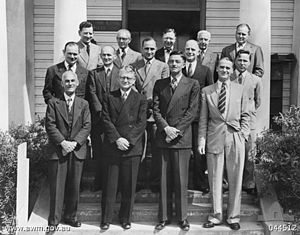 Chester Wilmot - Wilmot (right, back row), with war historians in Australia