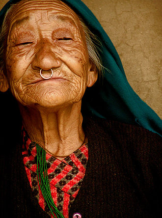 Sikkimese people - Old Nepali lady from Darap, Sikkim, India.
