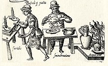 Drawing of two medieval men working in a kitchen