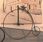 A penny-farthing or ordinary bicycle photographed in the Škoda museum in the Czech Republic