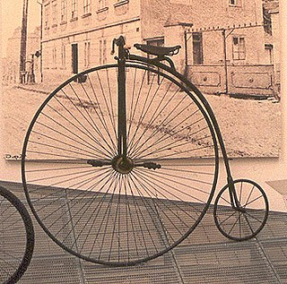 Penny-farthing a type of bicycle with a large front wheel and a much smaller rear wheel