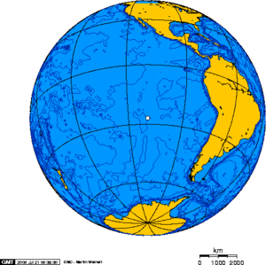 Orthographic projection centered on Easter Island