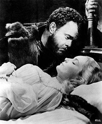 Welles and Suzanne Cloutier in Othello (1951) Othello-Welles-Cloutier.jpg