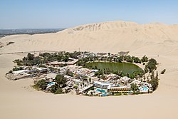 Huacachina from a nearby sand dune