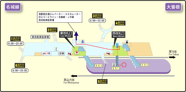 Ozone station map Nagoya subway's Meijo line 2014.png