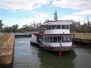 The P.S. Melbourne passing through Lock 11 at Mildura