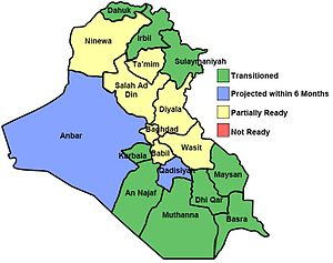 MNF-I and Iraqi government assessment of whether conditions on the ground permit transitioning responsibility for security to provincial governments. As of March 2008. Source: US DoD