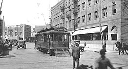 A P Line trolley crossing Alameda Street at 1st Street in Little Tokyo as it heads for Boyle Heights in c. 1918.