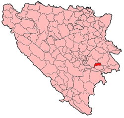 Location of Pale-Prača within Bosnia and Herzegovina.