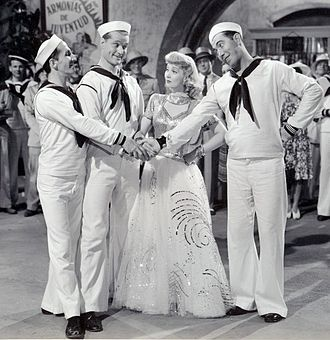 Rags Ragland - Ragland (right) with Ben Blue, Red Skelton and Ann Sothern in the film Panama Hattie (1942)