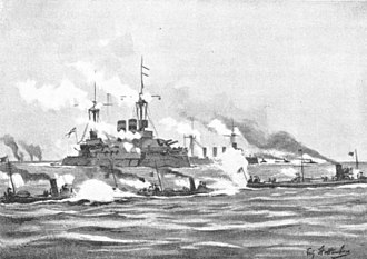 SMS Wörth - Illustration of a Brandenburg-class battleship with torpedo boats in the foreground