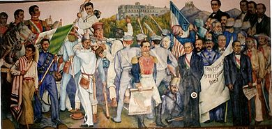 Panel from mural in the Paraninfo depicting the Mexican-American War (Artist: Leandro Carreon Najera, 1937-39) Paraninfo1.jpg