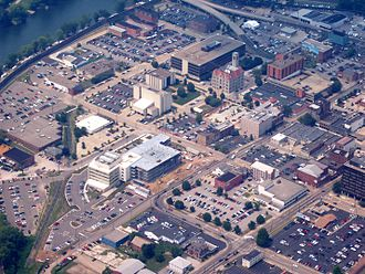 Parkersburg, West Virginia - An aerial view of downtown Parkersburg in 2005.