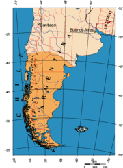 Patagonia, as most commonly defined (in orange).