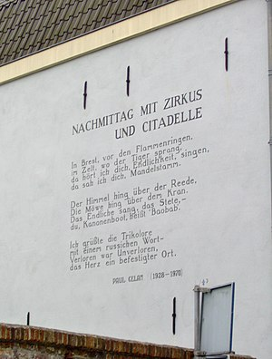 Paul Celan - Poem (Nachmittag mit Zirkus und Zitadelle) by Paul Celan on a wall in Leiden