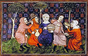 Medieval cuisine - A group of peasants sharing a simple meal of bread and drink; Livre du roi Modus et de la reine Ratio, 14th century. (Bibliothèque nationale)